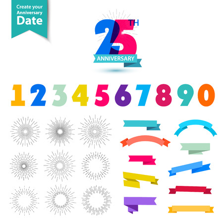 Vector set of anniversary numbers design. Create your own icons, compositions with ribbons, dates and sunbursts . Colorful retro collection Çizim