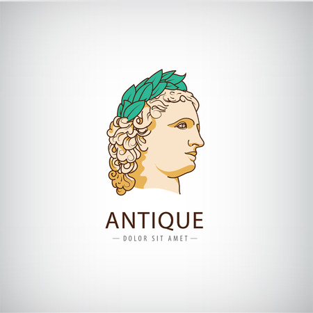 derecho romano: Antigüedad del vector logo griega de cabeza, icono aislado. escultura antigua, educativo, derecho, logotipo histórico