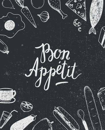 bon: Vector Bon Appetit graphic poster with food illustrations, menu cover, food banner. Black and white. Blackboard