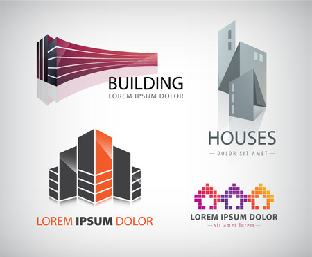 home logo: Vector set of buildings houses city town logos Illustration