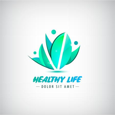 Vector de la insignia de vida saludable, hombre logotipo ecológico humano. Natural deja a la gente, logotipo ecológico, icono