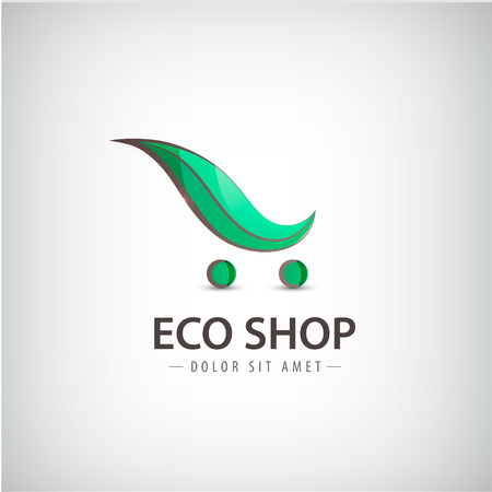 eco icon: Vector eco, bio organic products organic food logo sign. Shopping cart, leaf sign Illustration