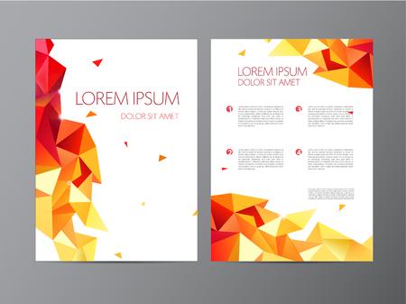 sides: vector flyer, orange brochure abstract design 2 sides, background, cover. Modern crystal, geometric