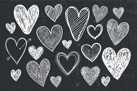 vector set of hand drawn doodle hearts, black and white, blackboard. Valentines day