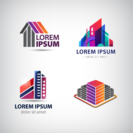 Vector set of buildings houses city town logos Illustration