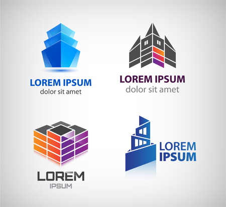 collection: Vector set of buildings houses city town logos Illustration