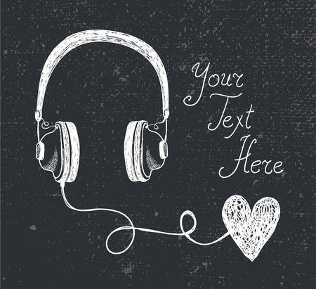 earphones: vector retro hand drawn doodle headphones, earphones with heart.