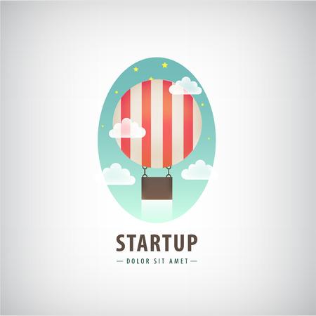 Vector business start up logo, Flying air ballon logo, start sign. Colorful, cartoon style