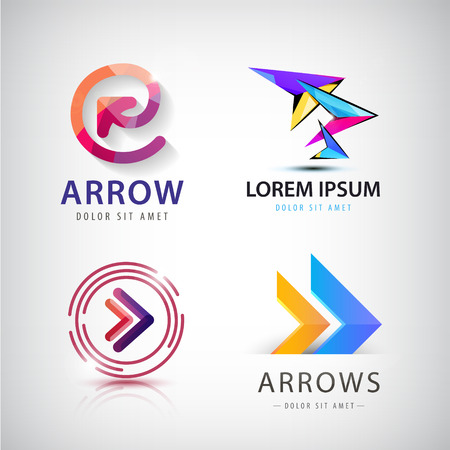 Vector set of 3d colorful arrow logos, icons isolated