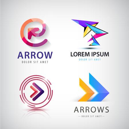 flecha direccion: Vector conjunto de logotipos de flechas de colores 3d, iconos aislado