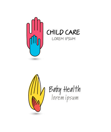 child care: Vector child care, baby health, charity, family, two hands logo set