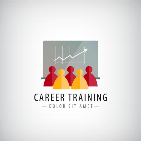 職業訓練、ビジネス会議、チームワークのロゴ、イラスト分離ベクトルします。