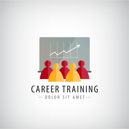 logo marketing: Vector career training, business meeting, teamwork logo, illustration isolated