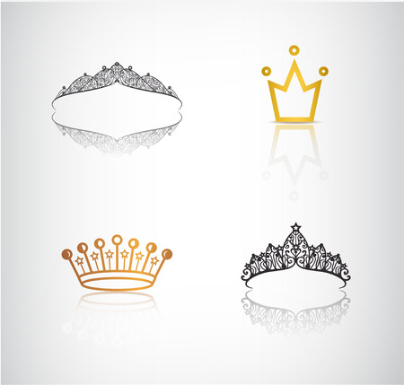 crown: Vector set of crowns, tiaras, lace and simple crown logos, icons, illustrations Illustration