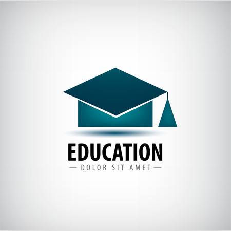 studies: Vector education logo, icon isolated. University school, high degree hat