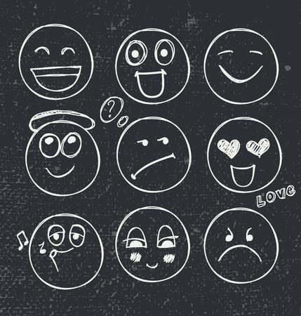 moods: vector set of hand drawn faces, moods. White illustration on blackboard background Illustration