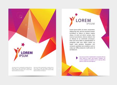 sport: Vector document, letter or logo style cover brochure and letterhead template design mockup set for business presentations, man, human, leadership,sport. Flyer, modern faceted design with logo
