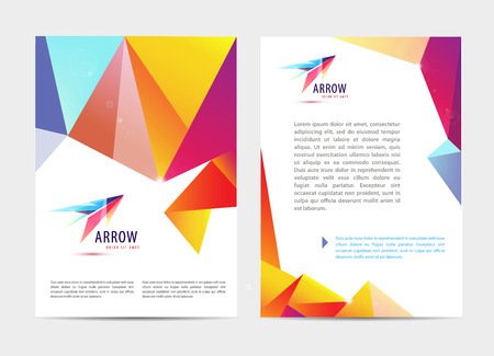 Vector document, letter or logo style cover brochure and letterhead template design mockup set for business presentations, abstract arrow logo. Flyer, modern faceted design with logo