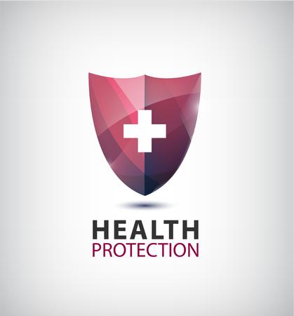 logo medicina: Vector de la insignia médica, logotipo protección de la salud, con el escudo aislado cruz. Vectores