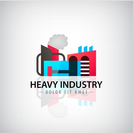 heavy: Vector heavy industry building  icon, illustration. Factory, company