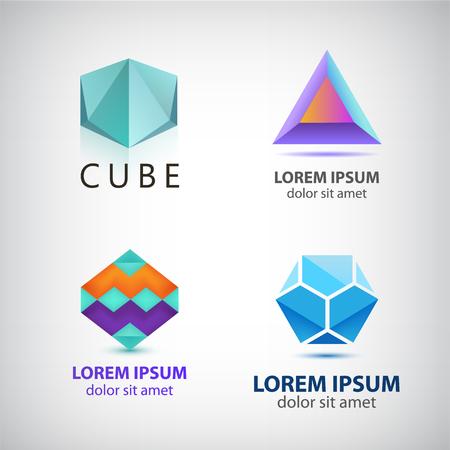forme: Vector ensemble de formes abstraites, abstraite isolé. identité colorée pour la société, Web. Illustration