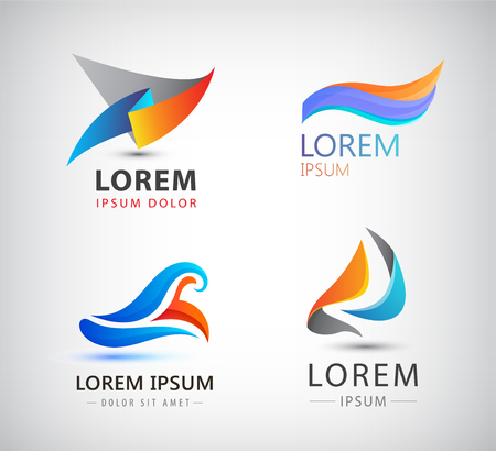 digital abstract: Vector set of abstract shapes, abstract icons isolated. Colorful identity for company, web.