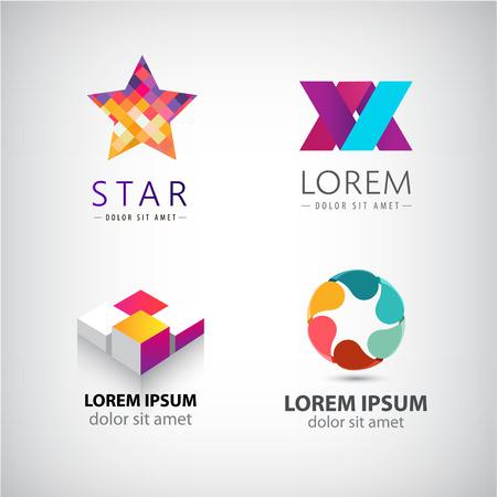 logos de empresas: Conjunto de vectores de formas abstractas, logotipos, iconos abstractas aislados. logotipo de color, la identidad de la compañía, web. Vectores