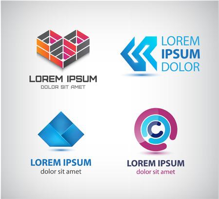 Conjunto de vectores de formas abstractas, logotipos, iconos abstractas aislados. logotipo de color, la identidad de la compañía, web. Logos