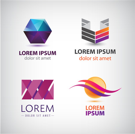 company logo: Vector set of abstract shapes, abstract logos, icons isolated. Colorful logo, identity for company, web.