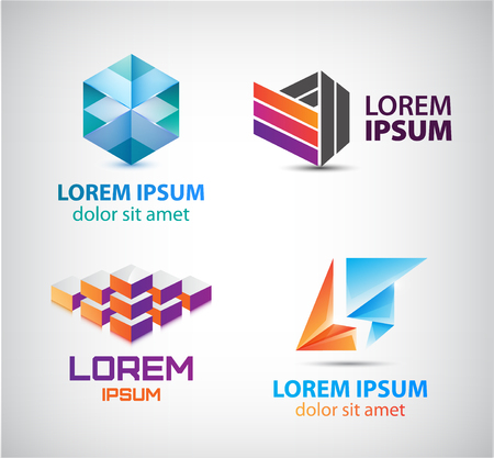 abstract logos: Vector set of abstract shapes, abstract logos, icons isolated. Colorful logo, identity for company, web.