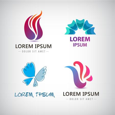 Conjunto de vectores de formas abstractas, logotipos, iconos abstractas aislados. logotipo de color, la identidad de la compañía, web.