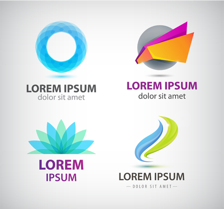 shape: Vector set of abstract shapes, abstract logos, icons isolated. Colorful logo, identity for company, web.