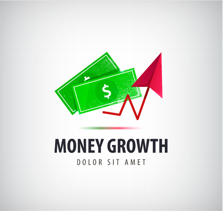 financial growth: Vector money growth logo, icon isolated. Financial success, money exchange logo, icon, green dollars and red arrow up