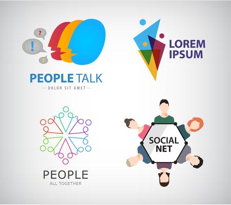 ネット社会のベクトルのロゴ、人々 接続ロゴ、チームワーク、トレーニング、人々 のグループ