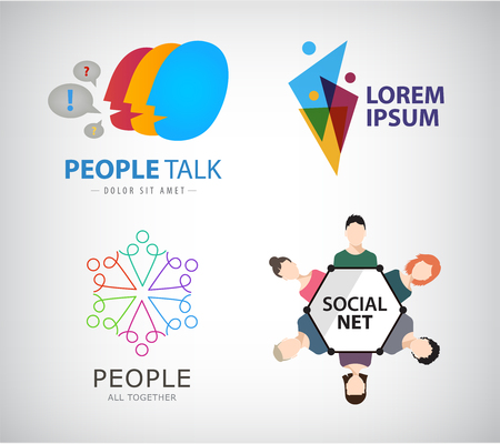social network icon: Vector social net logo, people connection logo, teamwork, group of people, training