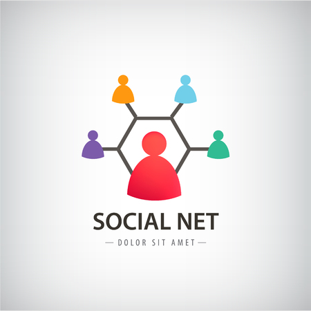 virtualization: Vector social net logo, people connection logo, teamwork, group of people, training