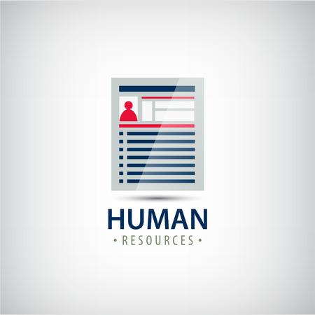 finder: Vector human resources resume career finder, cv icon, logo. Illustration