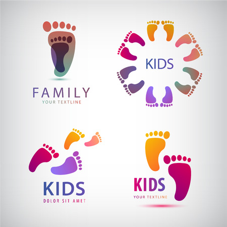 Vector set of feet steps, footprints logos, kids logo, family logo, icon isolated. Collection Çizim