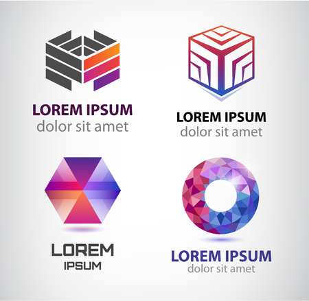 network logo: Vector set of abstract shapes, abstract logos, icons isolated. Colorful logo, identity for company, web.