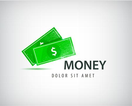 financial adviser: Vector financial logo, bank, business money logo, icon isolated. Green dollars