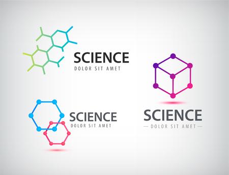 Vector set of science logos, biology, physics, chemistry logo. Laboratory identity