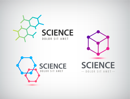 physics: Vector set of science logos, biology, physics, chemistry logo. Laboratory identity
