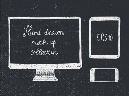 electronic tablet: Hand drawn doodle electronic devices mockup set - monitor, tablet and smartphone vector illustration.