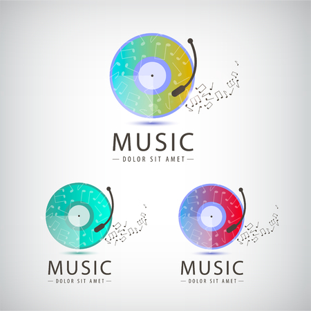 logo music: Vector retro vinyl music logo, icon set. Illustration