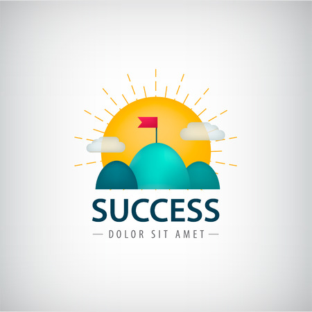 rises: Vector success creative logo, icon, concept. 2 hills with red flag, sun rises. Aim, goal achievement business sign