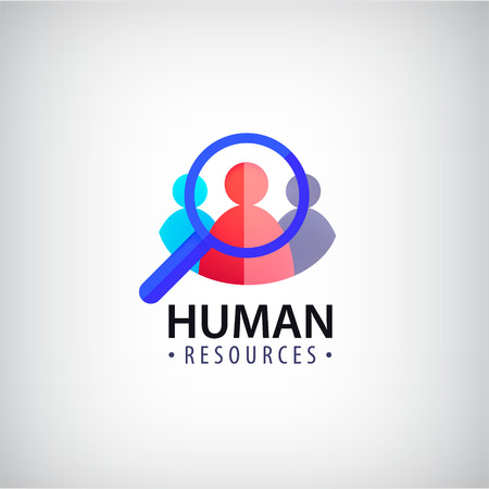 communication logo: Vector human resources, people search hr logo, icon isolated.