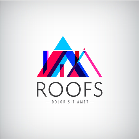 roofing: Vector modern colorful roofs logo, houses, building logo, icon isolated