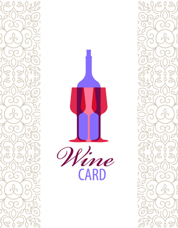 wine card: Vector wine card icon, logo, menu cover. Wine list cover for cage, bar, restaurant Illustration