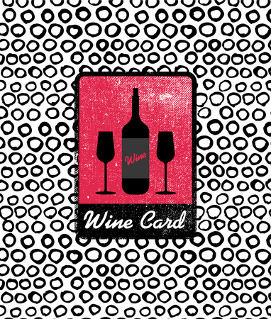 wine background: Vector wine card icon, logo, menu cover. Wine list cover for cage, bar, restaurant Illustration