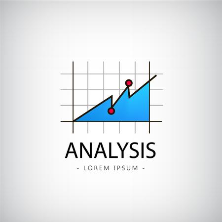 análisis de la insignia del vector, logotipo mercado, icono, logotipo gráfico aislado Logos